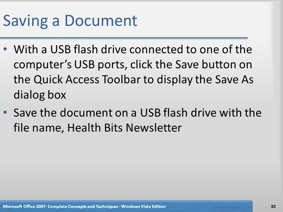 Saving a Document With a USB flash drive connected to one of the computer's USB ports, click the Save button on the Quick Access Toolbar to display th