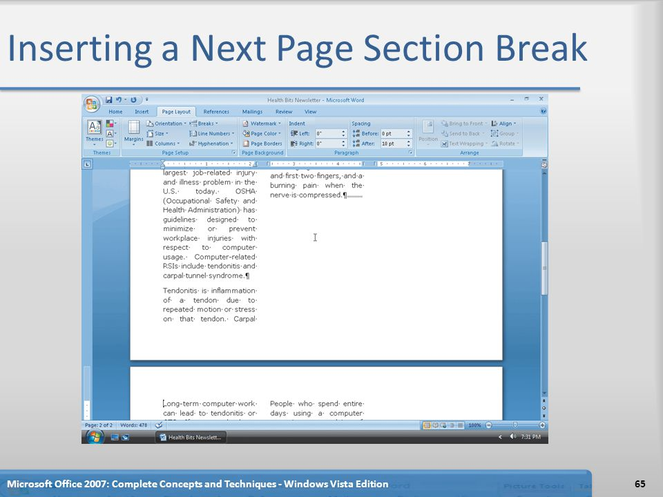 Inserting a Next Page Section Break Microsoft Office 2007: Complete Concepts and Techniques - Windows Vista Edition65