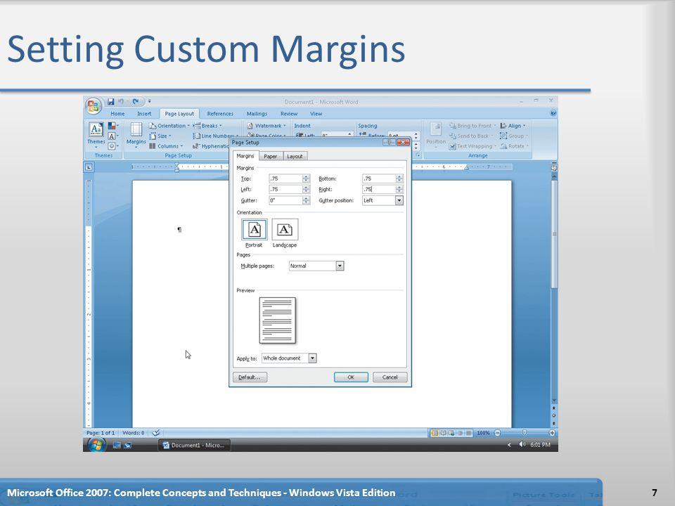 Inserting a Column Break Microsoft Office 2007: Complete Concepts and Techniques - Windows Vista Edition68