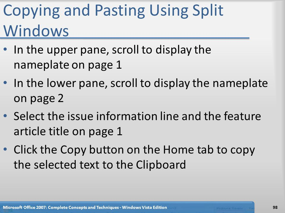 Copying and Pasting Using Split Windows In the upper pane, scroll to display the nameplate on page 1 In the lower pane, scroll to display the nameplat