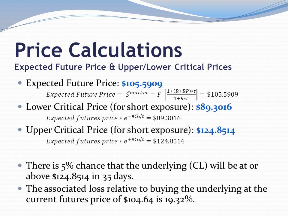 Price Calculations Expected Future Price & Upper/Lower Critical Prices