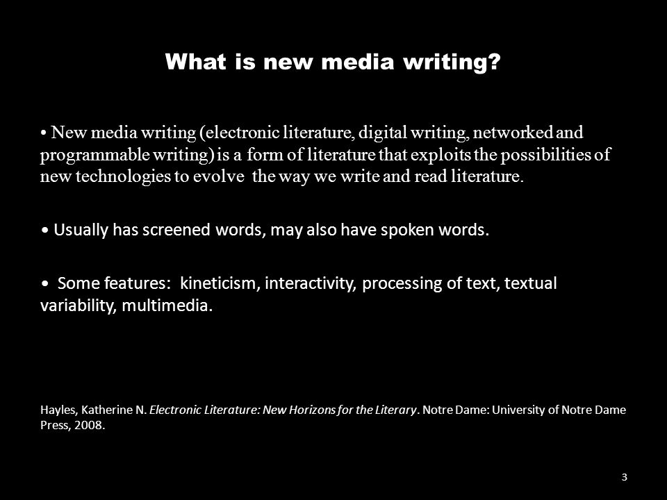 What is new media writing.
