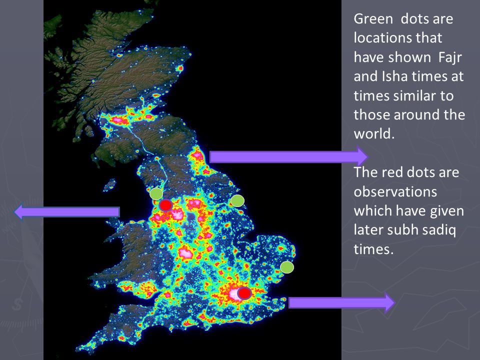 Green dots are locations that have shown Fajr and Isha times at times similar to those around the world. The red dots are observations which have give