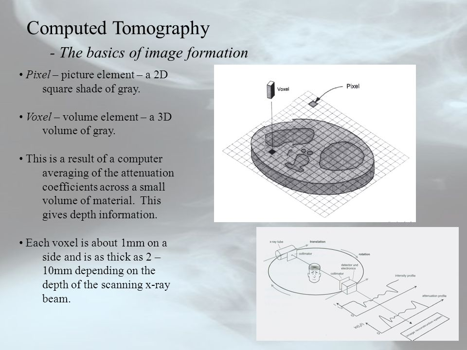 Computed Tomography - The basics of image formation Pixel – picture element – a 2D square shade of gray. Voxel – volume element – a 3D volume of gray.