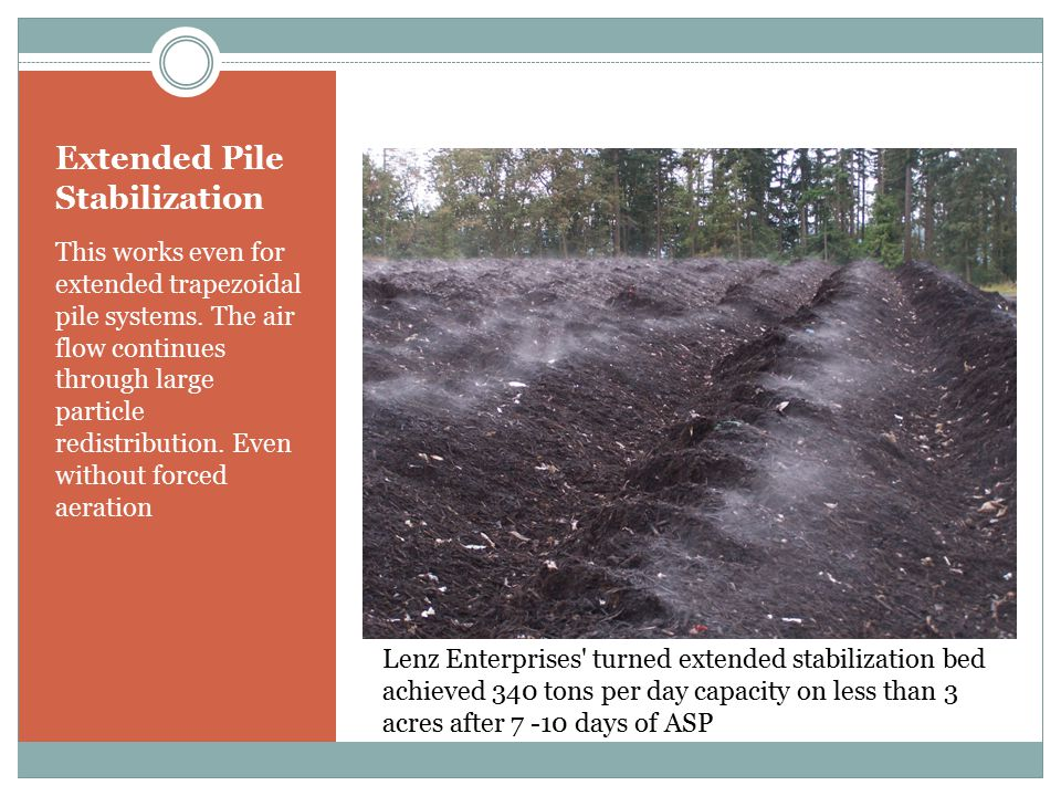 Extended Pile Stabilization However, further use of forced aeration provides significantly more drying and cooling making stable material in 21 days ready for curing Compost Factory, Land Recovery