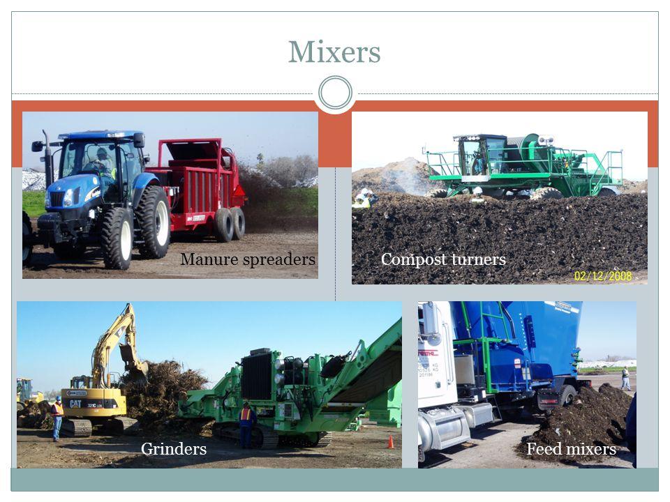 Mixers Manure spreadersCompost turners GrindersFeed mixers