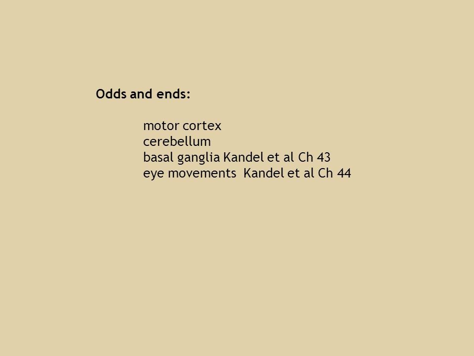 Odds and ends: motor cortex cerebellum basal ganglia Kandel et al Ch 43 eye movements Kandel et al Ch 44