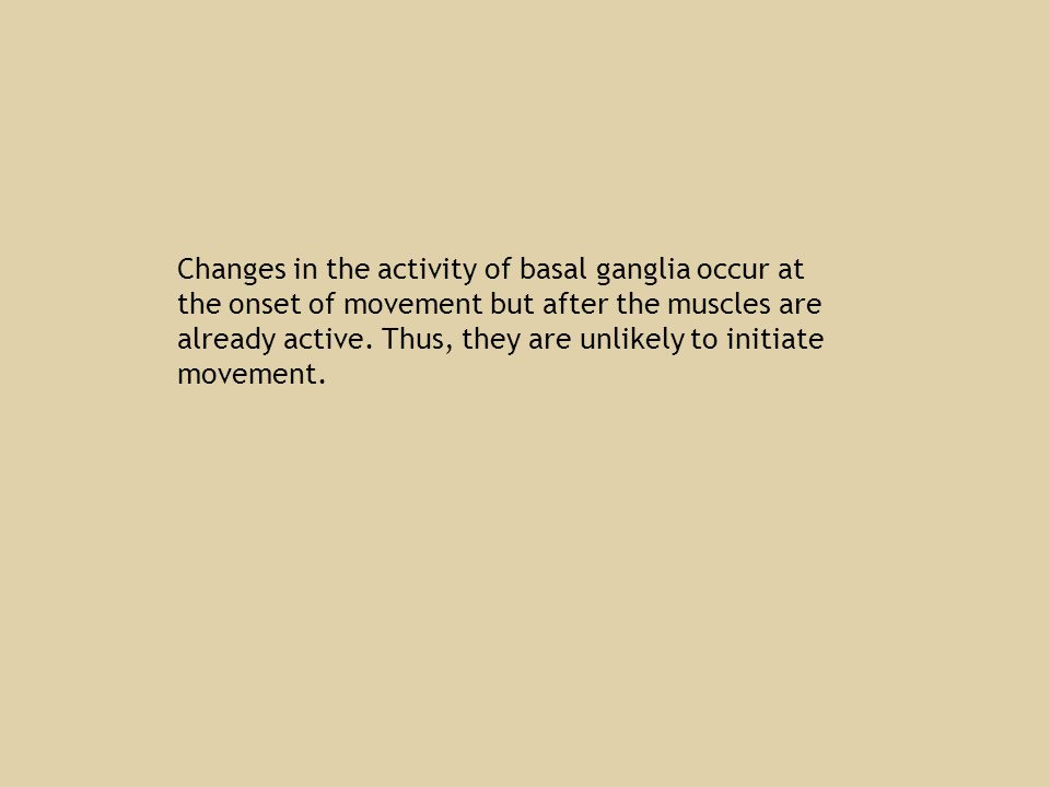 Changes in the activity of basal ganglia occur at the onset of movement but after the muscles are already active.