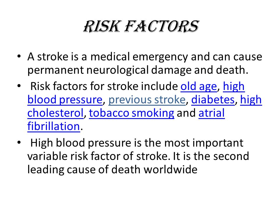 Stroke Symptoms 1.Sudden numbness or weakness of the face, arm, or leg (especially on one side of the body) 2.Sudden confusion, trouble speaking, or difficulty understanding speech 3.Sudden trouble seeing in one or both eyes 4.Sudden trouble walking, dizziness, or loss of balance or coordination 5.Sudden severe headache with no known cause