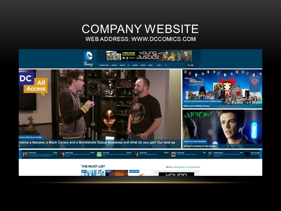 COMPANY WEBSITE WEB ADDRESS: WWW.DCCOMICS.COM
