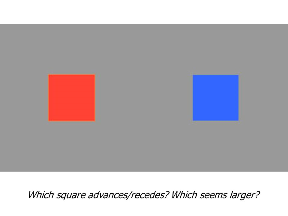 Which square advances/recedes? Which seems larger?