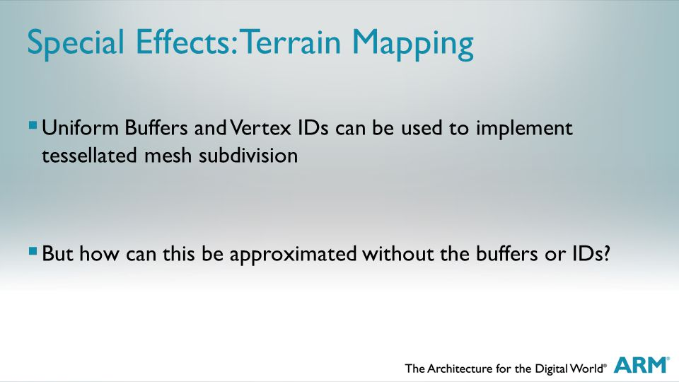  Uniform Buffers and Vertex IDs can be used to implement tessellated mesh subdivision  But how can this be approximated without the buffers or IDs