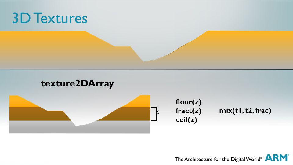 3D Textures floor(z) fract(z) ceil(z) texture2DArray mix(t1, t2, frac)
