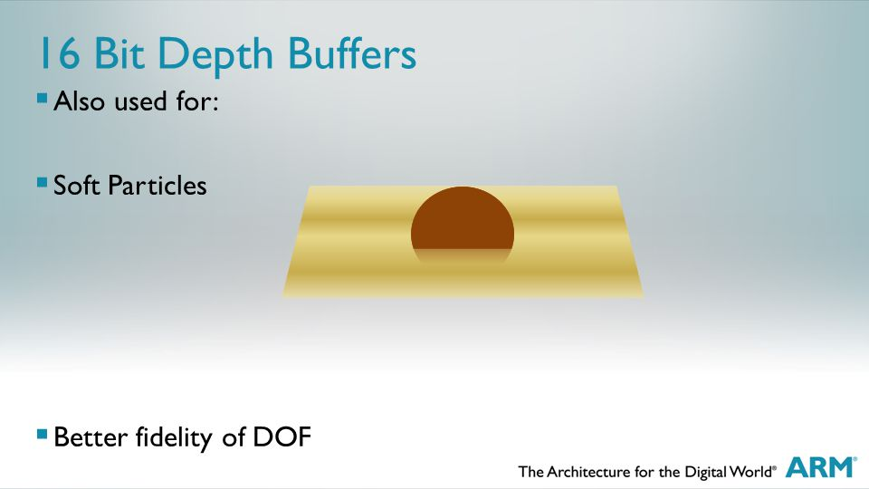 16 Bit Depth Buffers  Also used for:  Soft Particles  Better fidelity of DOF