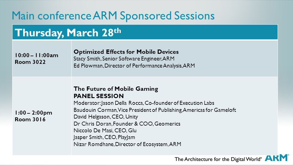 Main conference ARM Sponsored Sessions Thursday, March 28 th 10:00 – 11:00am Room 3022 Optimized Effects for Mobile Devices Stacy Smith, Senior Software Engineer, ARM Ed Plowman, Director of Performance Analysis, ARM 1:00 – 2:00pm Room 3016 The Future of Mobile Gaming PANEL SESSION Moderator: Jason Della Rocca, Co-founder of Execution Labs Baudouin Corman, Vice President of Publishing, Americas for Gameloft David Helgason, CEO, Unity Dr Chris Doran, Founder & COO, Geomerics Niccolo De Masi, CEO, Glu Jasper Smith, CEO, PlayJam Nizar Romdhane, Director of Ecosystem, ARM