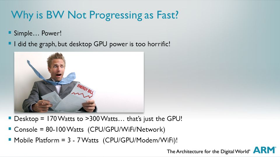 Why is BW Not Progressing as Fast.  Simple… Power.