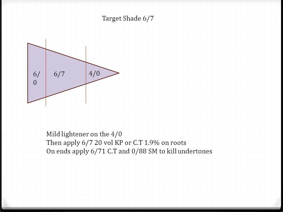 6/ 0 6/7 4/0 Target Shade 6/7 Mild lightener on the 4/0 Then apply 6/7 20 vol KP or C.T 1.9% on roots On ends apply 6/71 C.T and 0/88 SM to kill under