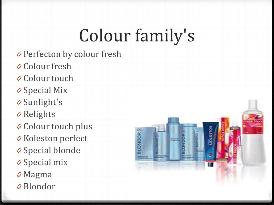 Colour family s 0 Perfecton by colour fresh 0 Colour fresh 0 Colour touch 0 Special Mix 0 Sunlight s 0 Relights 0 Colour touch plus 0 Koleston perfect 0 Special blonde 0 Special mix 0 Magma 0 Blondor
