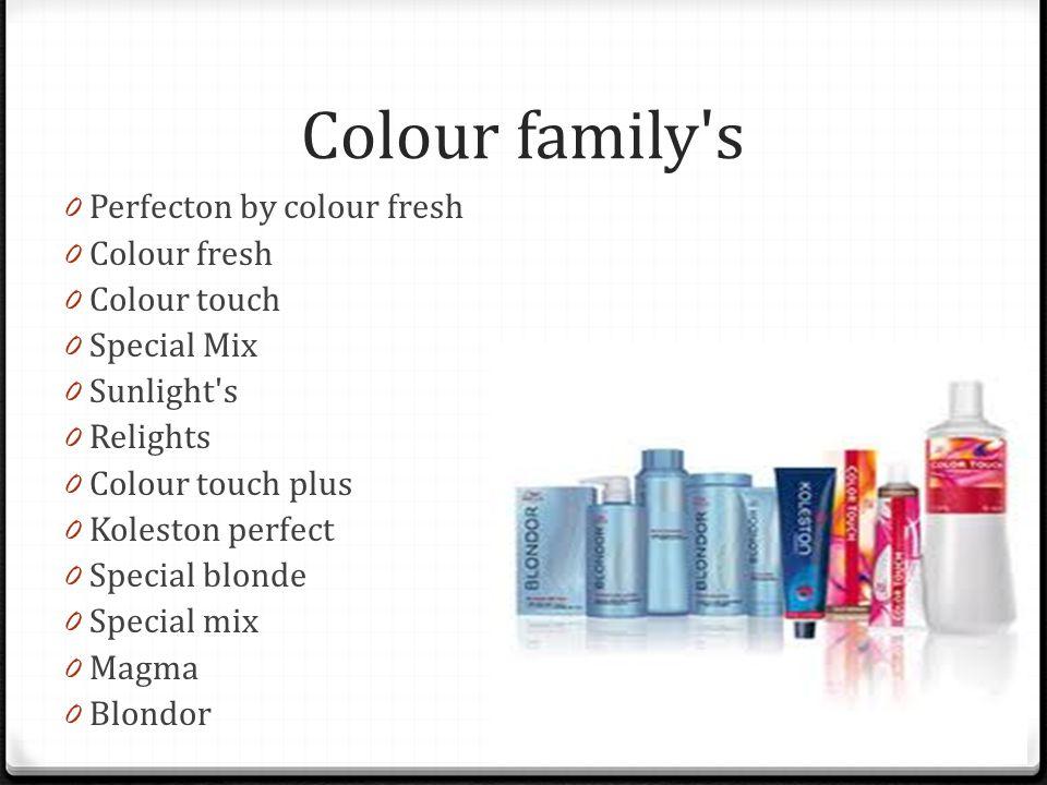 Colour family's 0 Perfecton by colour fresh 0 Colour fresh 0 Colour touch 0 Special Mix 0 Sunlight's 0 Relights 0 Colour touch plus 0 Koleston perfect