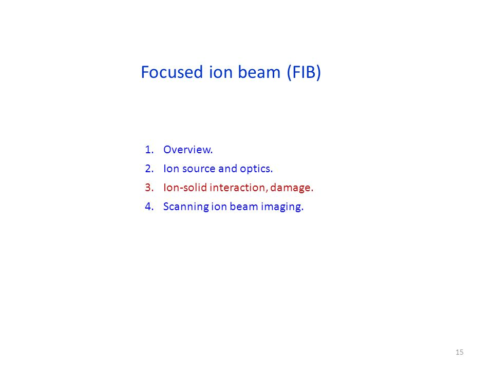 Focused ion beam (FIB) 1.Overview. 2.Ion source and optics.