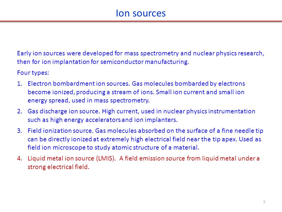 Ion sources Early ion sources were developed for mass spectrometry and nuclear physics research, then for ion implantation for semiconductor manufacturing.