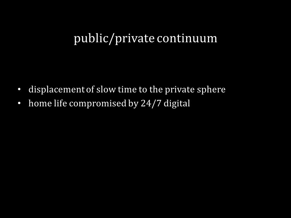 public/private continuum displacement of slow time to the private sphere home life compromised by 24/7 digital