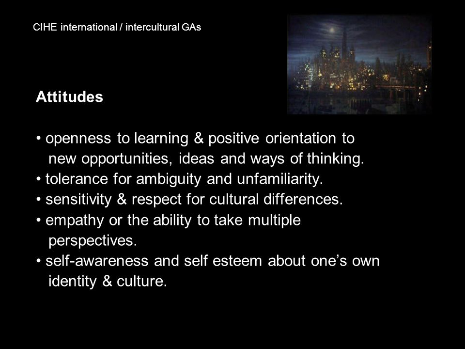 CIHE international / intercultural GAs Attitudes openness to learning & positive orientation to new opportunities, ideas and ways of thinking. toleran