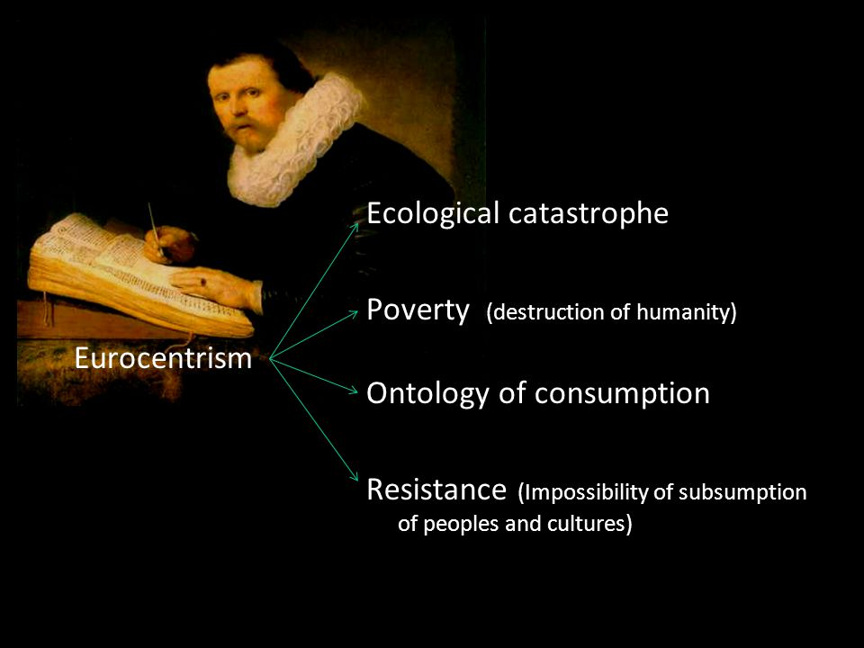 Eurocentrism Ecological catastrophe Poverty (destruction of humanity) Ontology of consumption Resistance (Impossibility of subsumption of peoples and