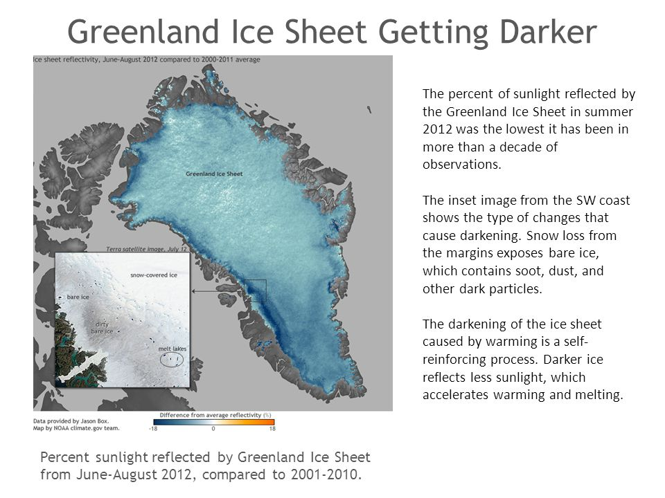 Greenland Ice Sheet Getting Darker The percent of sunlight reflected by the Greenland Ice Sheet in summer 2012 was the lowest it has been in more than