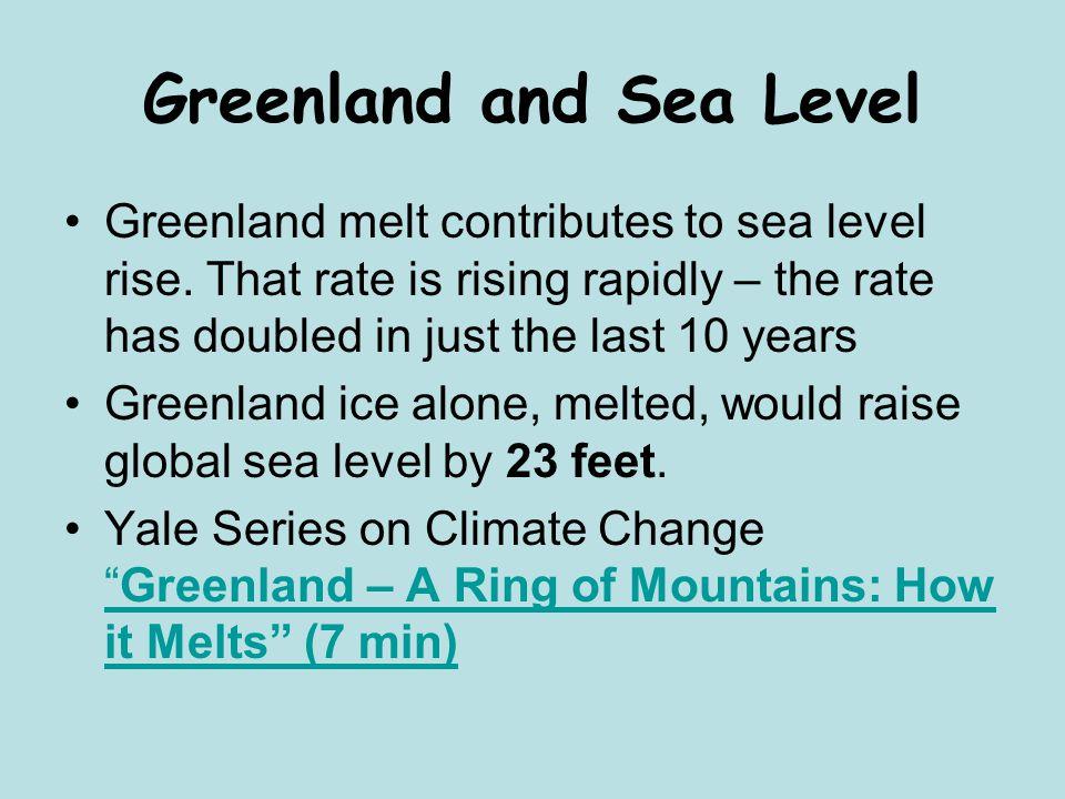 Greenland and Sea Level Greenland melt contributes to sea level rise.