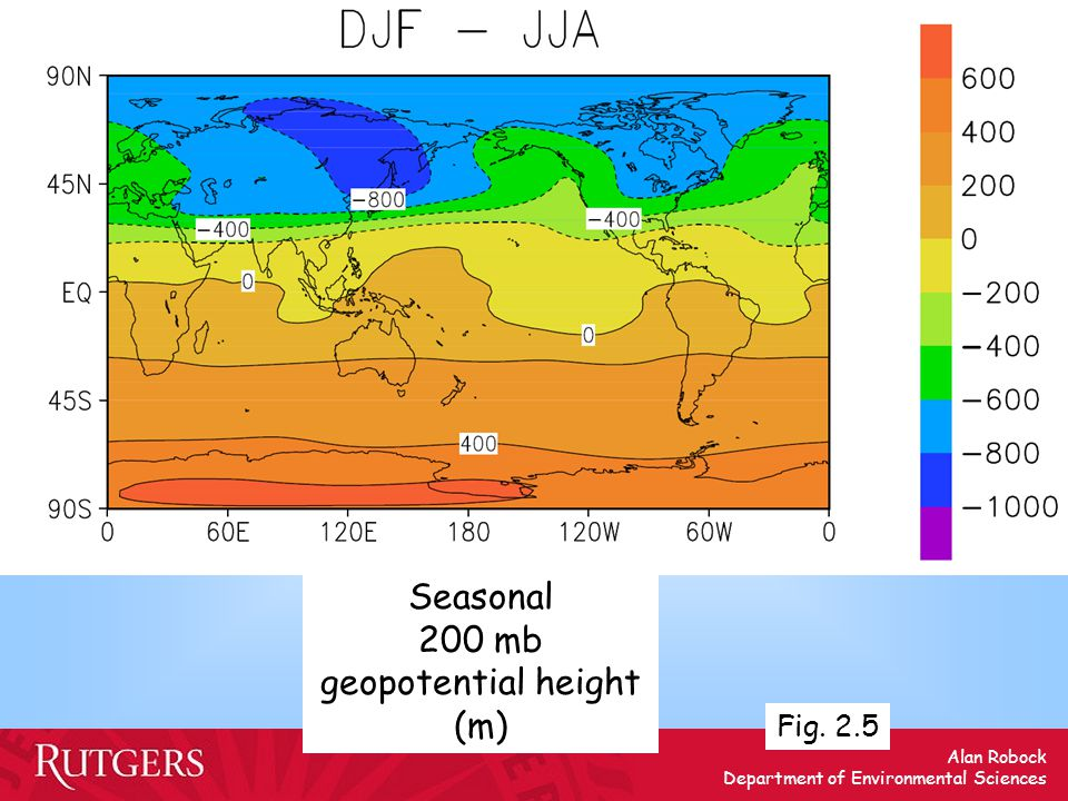 Alan Robock Department of Environmental Sciences Seasonal 200 mb geopotential height (m) Fig. 2.5