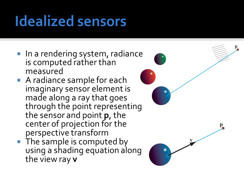  In a rendering system, radiance is computed rather than measured  A radiance sample for each imaginary sensor element is made along a ray that goes through the point representing the sensor and point p, the center of projection for the perspective transform  The sample is computed by using a shading equation along the view ray v