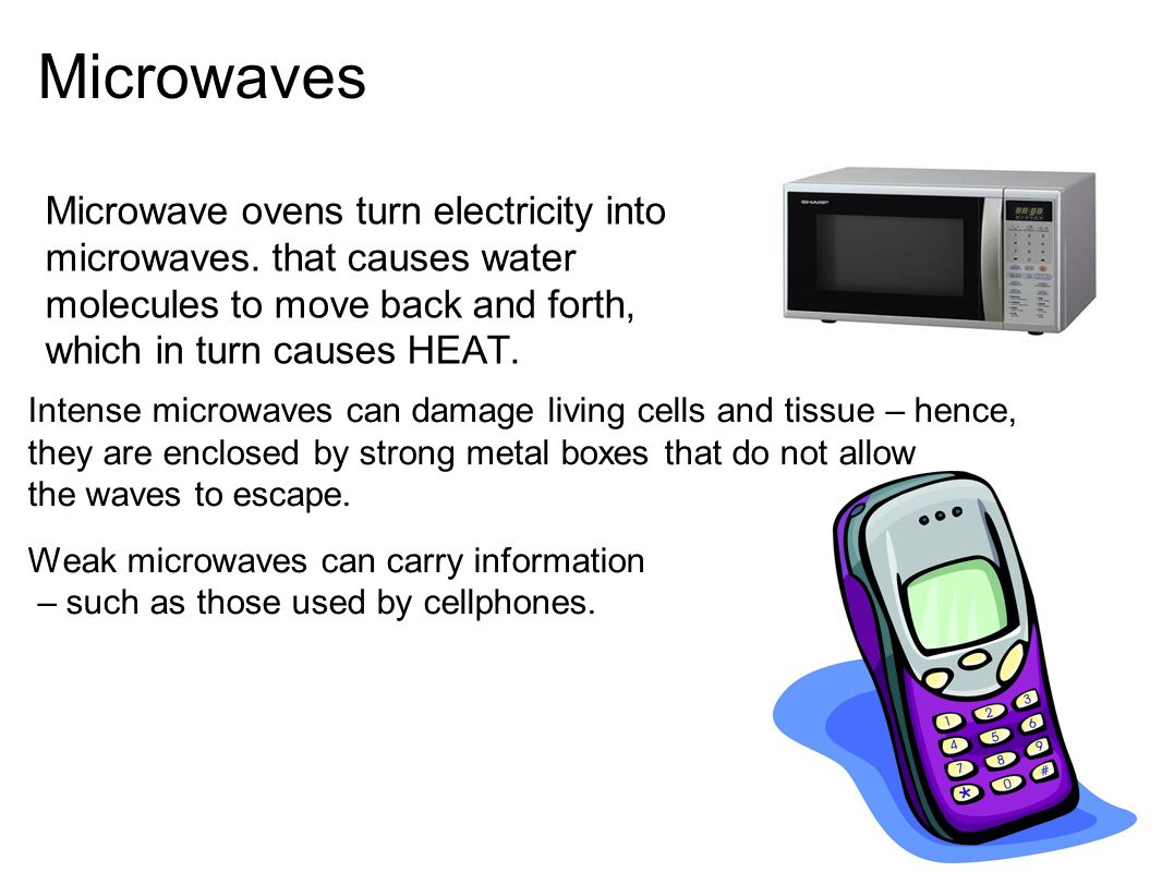 Microwaves Microwave ovens turn electricity into microwaves. that causes water molecules to move back and forth, which in turn causes HEAT. Intense mi