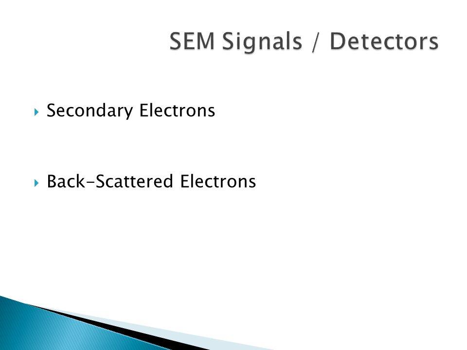 Secondary Electrons  Back-Scattered Electrons