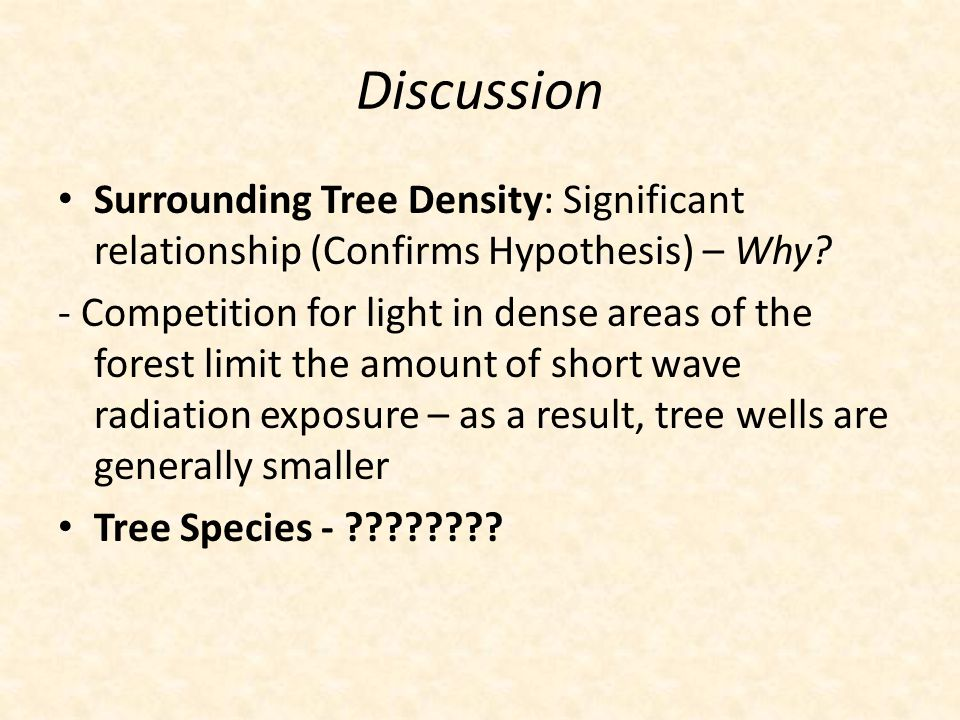 Discussion Surrounding Tree Density: Significant relationship (Confirms Hypothesis) – Why.