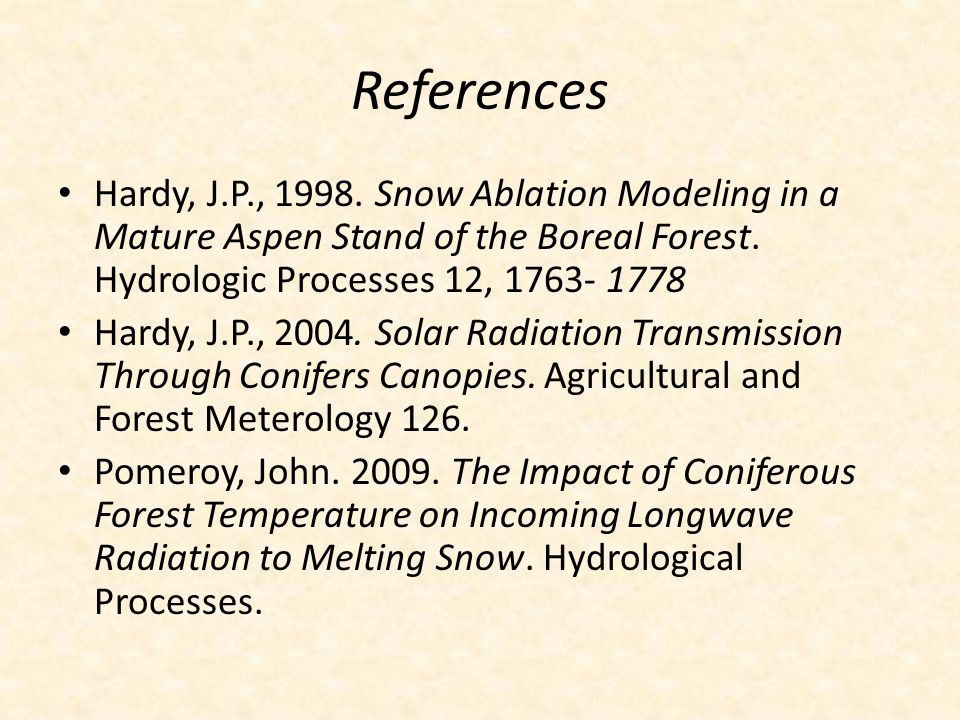 References Hardy, J.P., 1998. Snow Ablation Modeling in a Mature Aspen Stand of the Boreal Forest. Hydrologic Processes 12, 1763- 1778 Hardy, J.P., 20