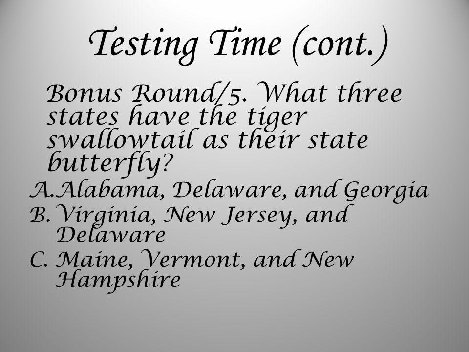 Testing Time (cont.) Bonus Round/5.
