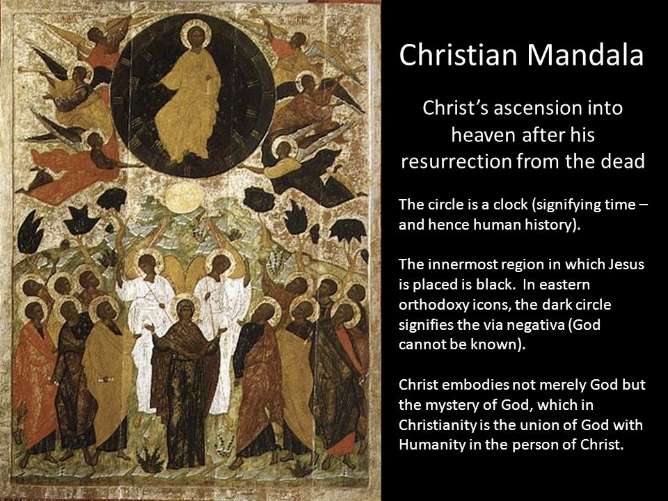 Christian Mandala Christ's ascension into heaven after his resurrection from the dead The circle is a clock (signifying time – and hence human history).