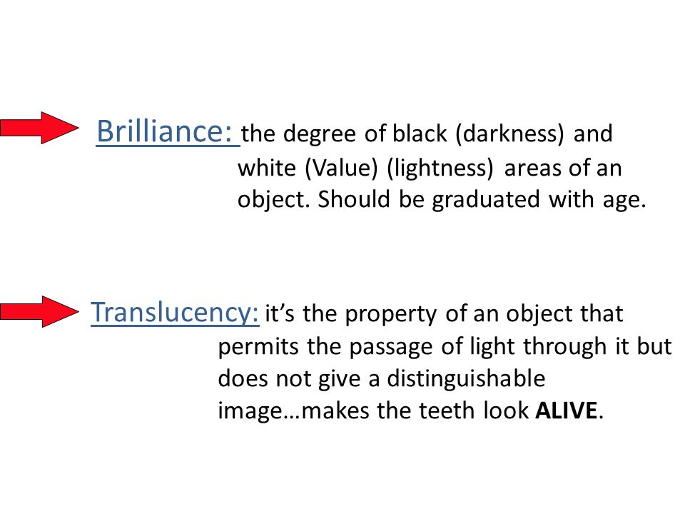 Brilliance: the degree of black (darkness) and white (Value) (lightness) areas of an object.