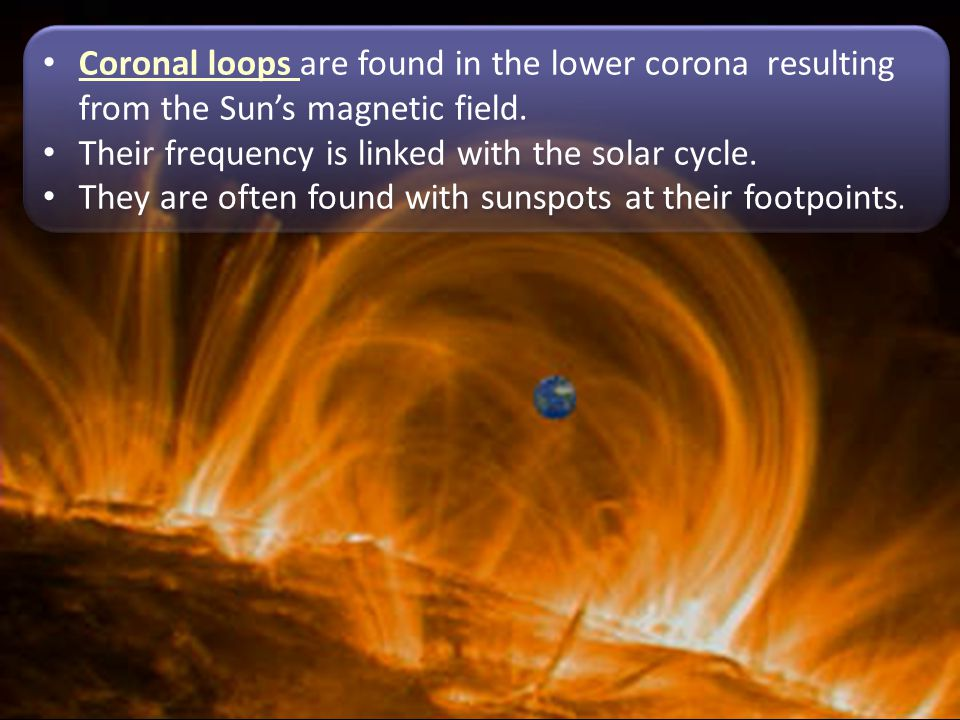 Coronal loops are found in the lower corona resulting from the Sun's magnetic field.