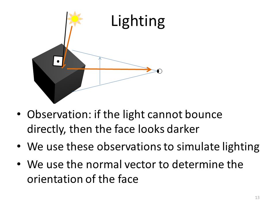 Observation: if the light cannot bounce directly, then the face looks darker We use these observations to simulate lighting We use the normal vector to determine the orientation of the face Lighting 13