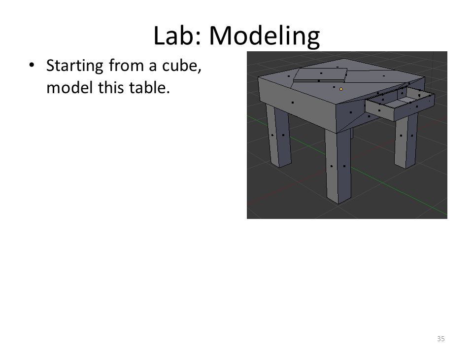 Lab: Modeling Starting from a cube, model this table. 35