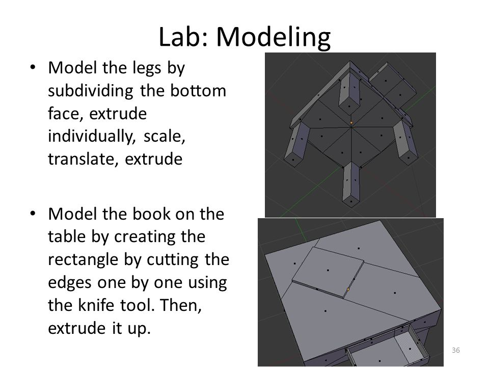 Lab: Modeling Model the legs by subdividing the bottom face, extrude individually, scale, translate, extrude Model the book on the table by creating the rectangle by cutting the edges one by one using the knife tool.