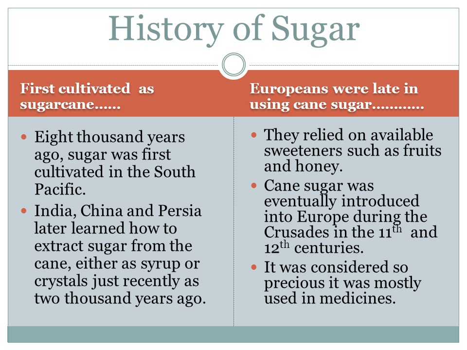 First cultivated as sugarcane…… Europeans were late in using cane sugar………… Eight thousand years ago, sugar was first cultivated in the South Pacific.