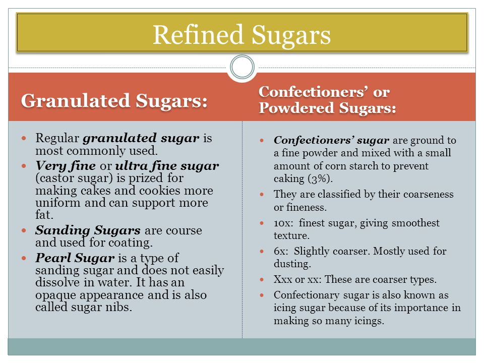 Granulated Sugars: Confectioners' or Powdered Sugars: Regular granulated sugar is most commonly used.