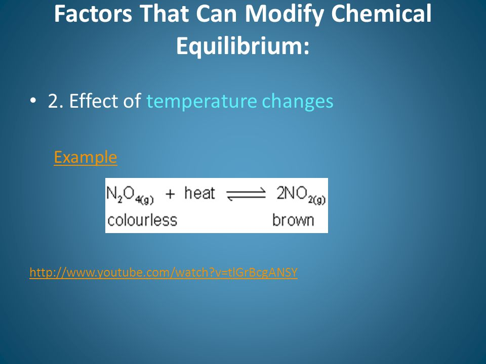 Factors That Can Modify Chemical Equilibrium: 2.