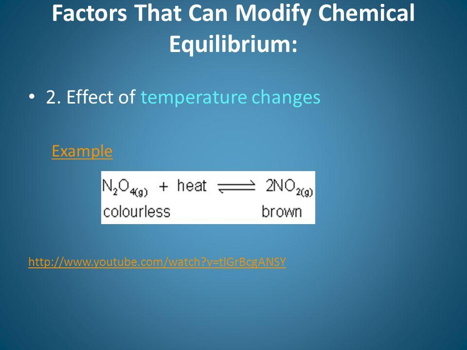 Factors That Can Modify Chemical Equilibrium: 2.