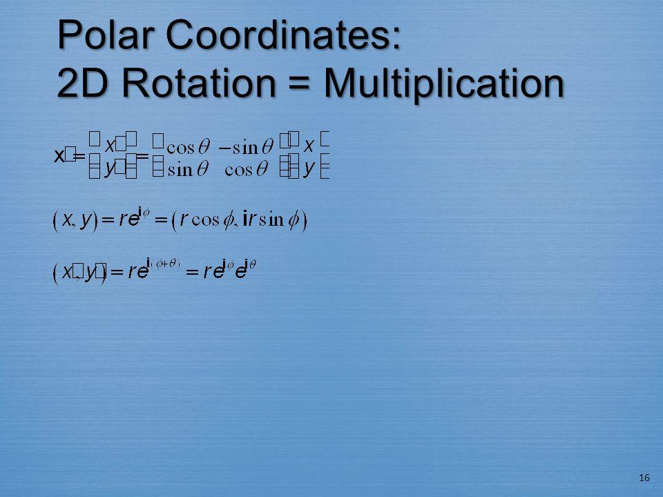 Polar Coordinates: 2D Rotation = Multiplication 16