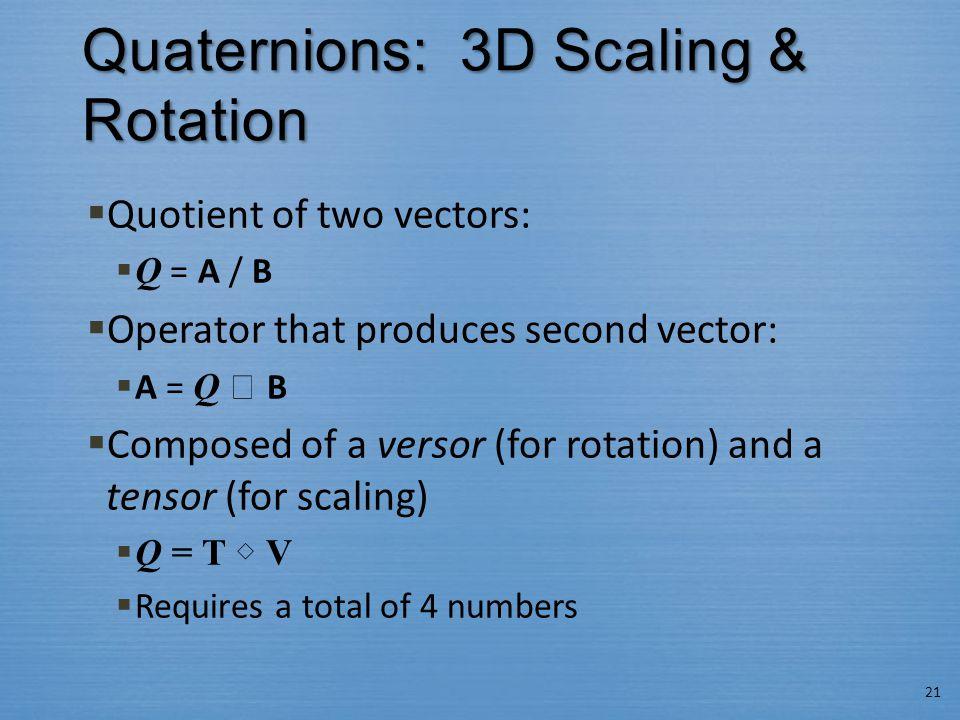 Quaternions: 3D Scaling & Rotation 21