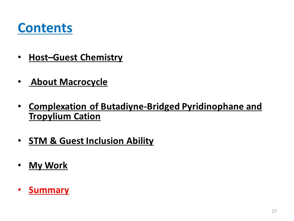 Contents Host–Guest Chemistry About Macrocycle Complexation of Butadiyne-Bridged Pyridinophane and Tropylium Cation STM & Guest Inclusion Ability My Work Summary 23